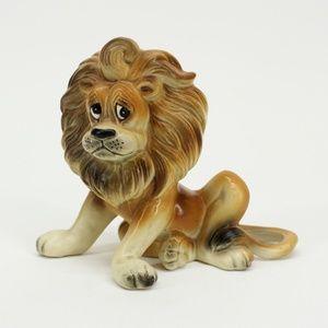 Vintage Sad Lion Sitting Figurine